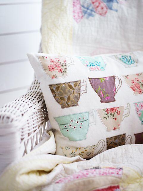 tea cups cushion