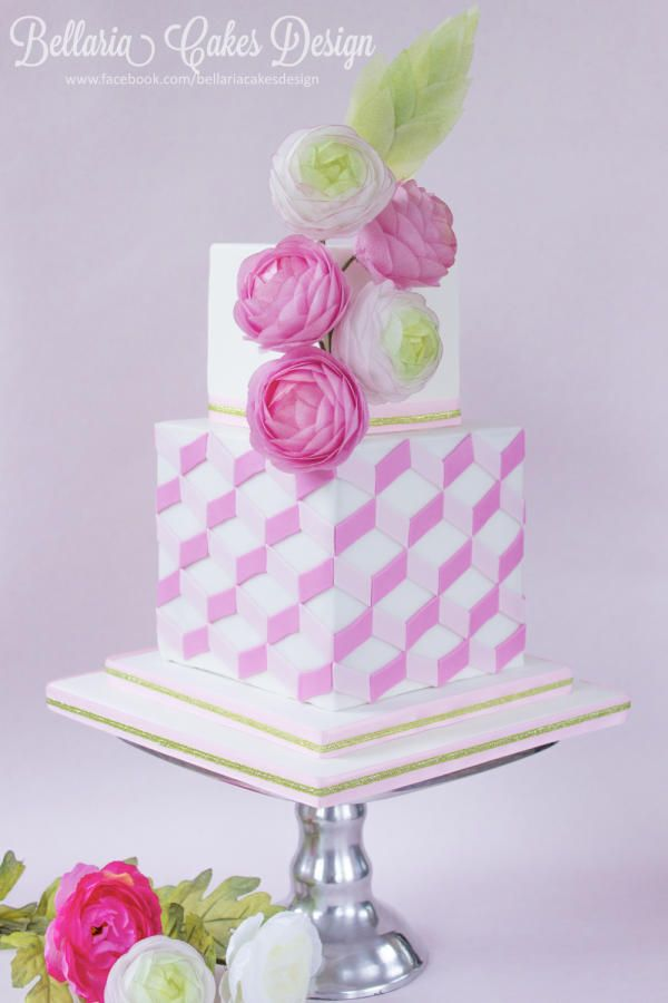 Spring cake with wafer paper ranunculus