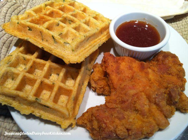 Chicken & Savory Cornbread Waffles - gluten free, dairy free