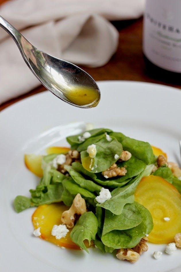 ROASTED GOLDEN BEET SALAD W/ MAPLE CIDER VINAIGRETTE via Savor Home