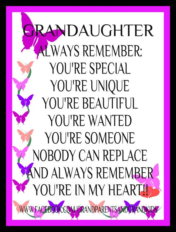 Words To My Granddaughter Just B Cause