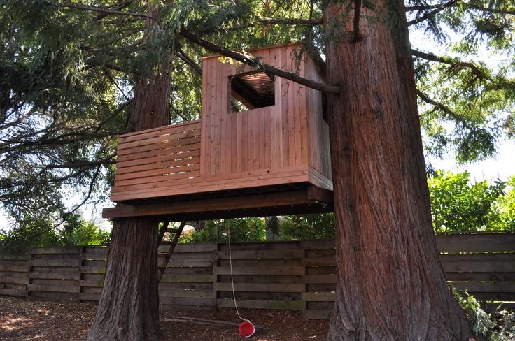 Our final backyard tree house tree house ideas pinterest for Backyard treehouse designs