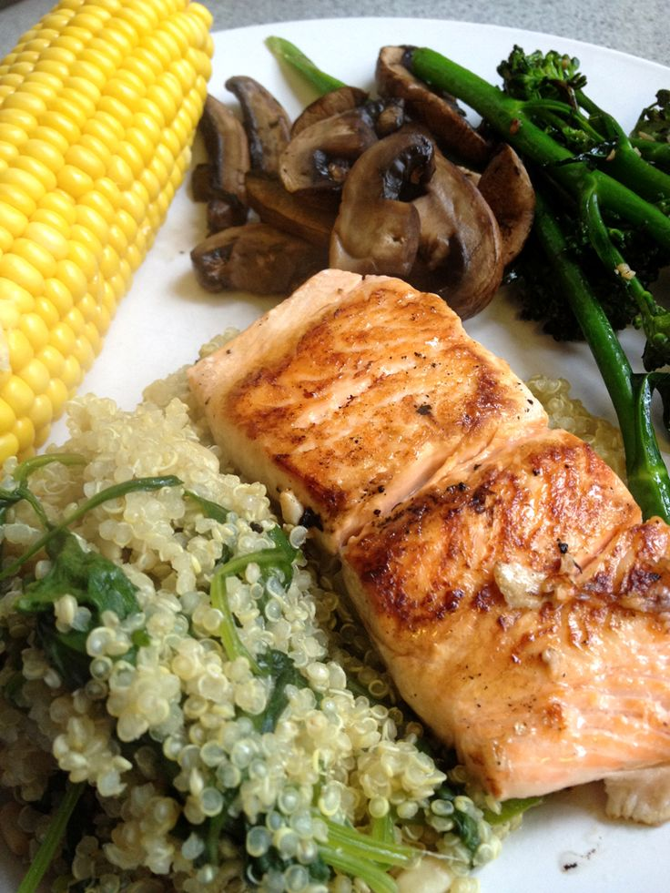 Salmon with Spinach Quinoa, Sweet Corn, Mushrooms and Broccolini