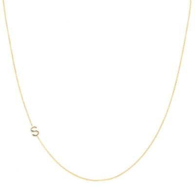 """14k gold asymmetrical mini letter necklace on a super fine cable chain by Maya Brenner Designs.    • chain length: 16""""  • letter size: 1/4""""  • handmade in USA"""