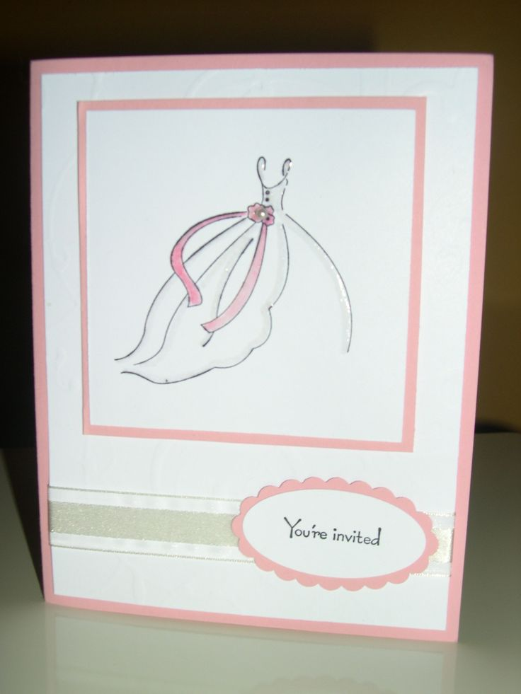 ... Bride (pretty in pink; Cassie's shower invitation)- stampin up card