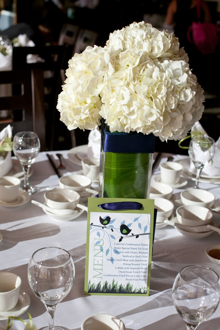 White hydrangea and rose centerpieces