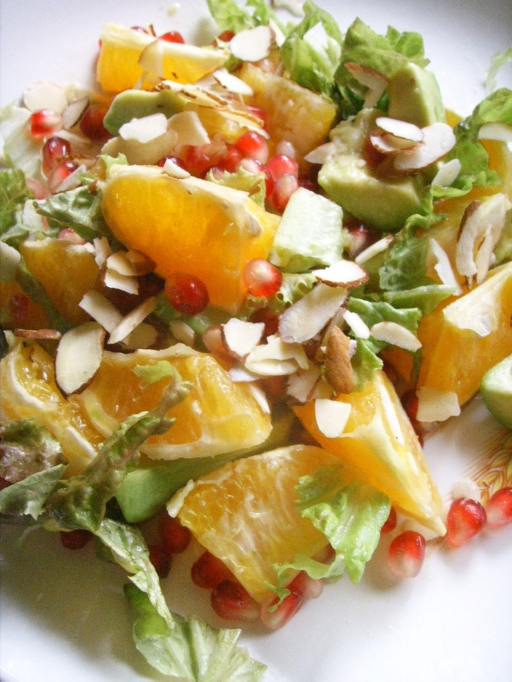 Orange, Avaocado, Pomegranate, Almonds & Korean Lettuce Salad (Cooking ...