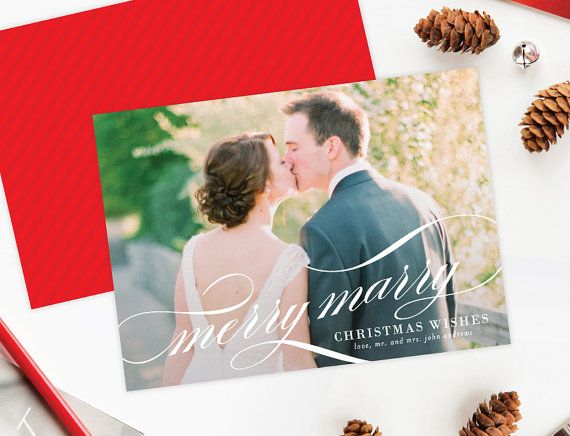 Merry Marry Christmas Holiday Photo Cards - Newlywed Christmas Photocards by Lauren Chism Fine Papers  #holiday #newlywed #first #married #christmas #wedding
