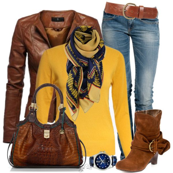 Brown Leather Jacket, Blue Jeans, Yellow Sweater,Colorfull Scarf,Brown Handbag