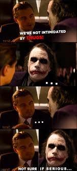 Joker Vs. Leo stare-off.