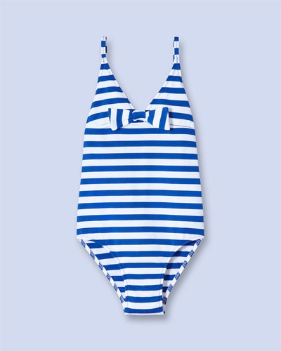 Jacadi Paris Girls' Blue & White Stripe One-Piece Swimsuit (2-8)