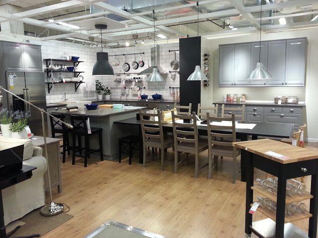 chic little me Ikea showroom entrance, Lidingo Gray Kitchen