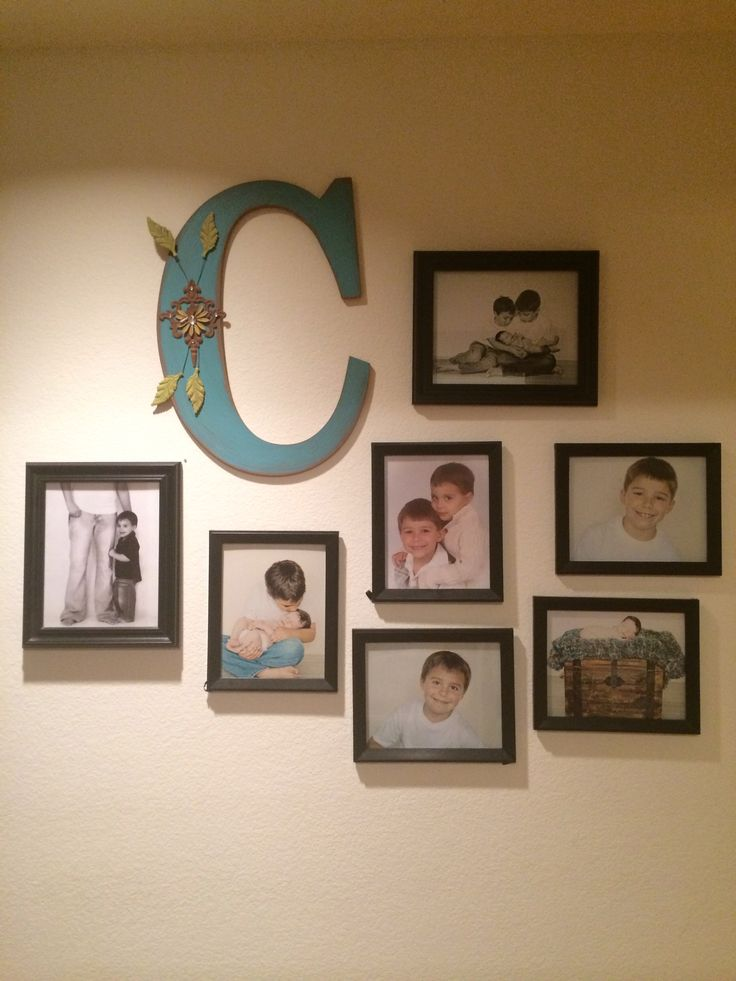 Wall picture collage with family letter living room for Living room 7 letters