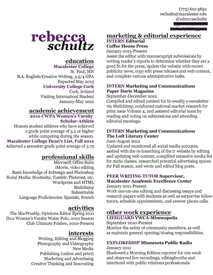 Resume for market research position