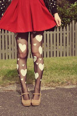 DIY Heart Print Valentines Tights