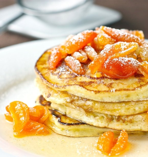 Orange Ricotta Pancakes with Kumquat and Candied Ginger Compote | # ...
