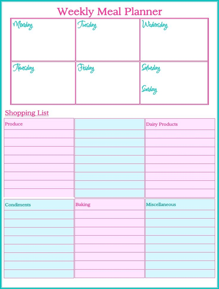 printable weekly menu planner with snacks