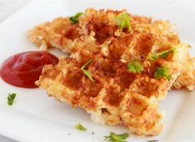 Waffle iron hashbrowns made with tater tots---great idea