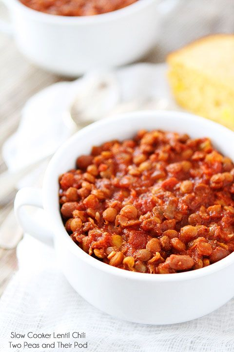 Slow Cooker Lentil Chili Recipe on twopeasandtheirpod.com Love this ...