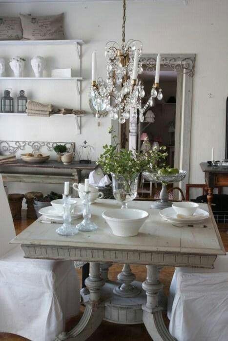 French farmhouse white shelves brackets kitchen ideas for Shabby dining room ideas