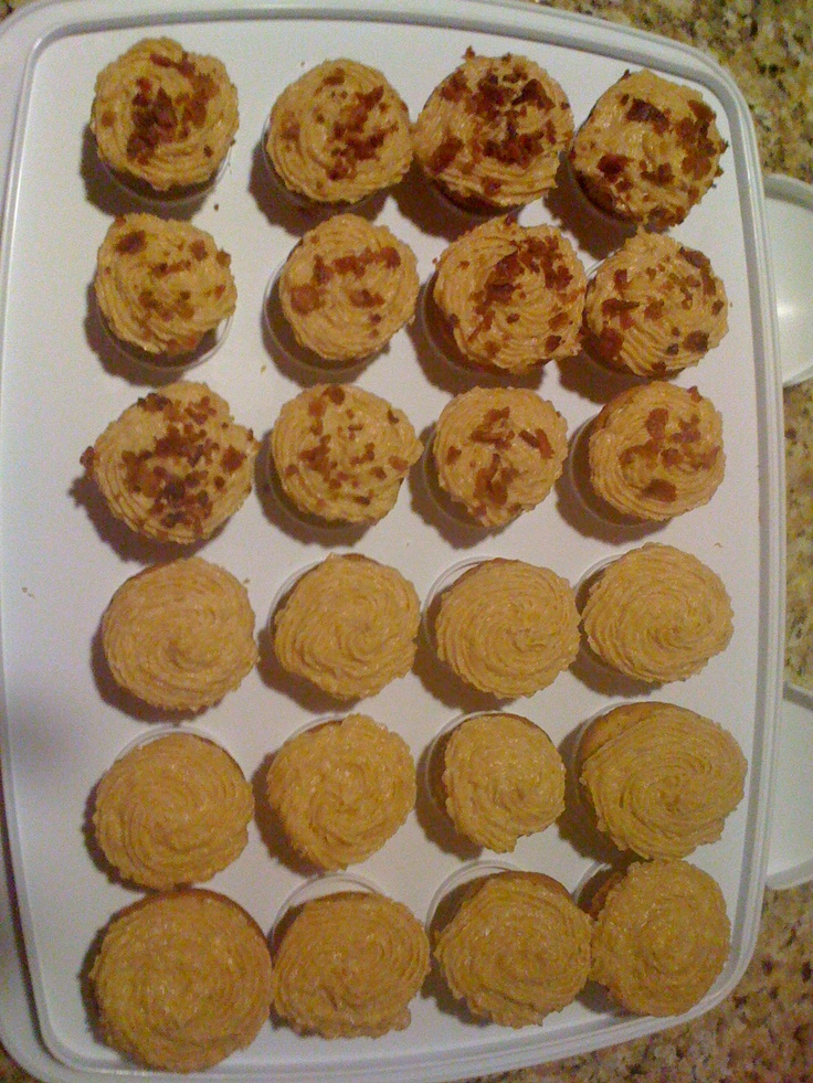 Peanut Butter Bacon Cupcakes. My husband's two favorite foods ...