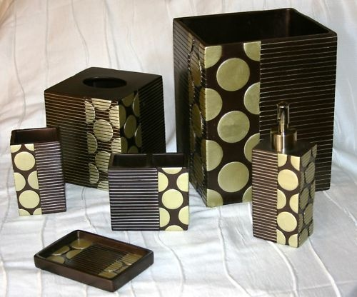 Metro sage brown 6 piece bathroom accessories set for Brown and white bathroom accessories