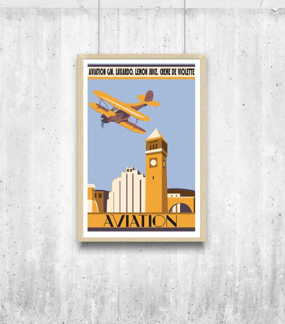 Aviation Cocktail Poster 11x17. A classic cocktail by PixelAndPint, # ...