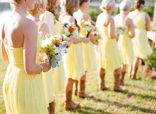 Yellow Bridesmaid Dresses With Cowgirl Boots 22