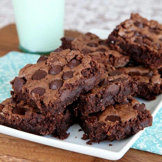 Triple Chocolate Chip Brownies Recipe — Dishmaps