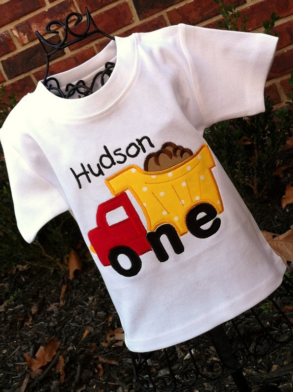 Appliqued Boys 1st Birthday Dump Truck Tee. $19.50, via Etsy.