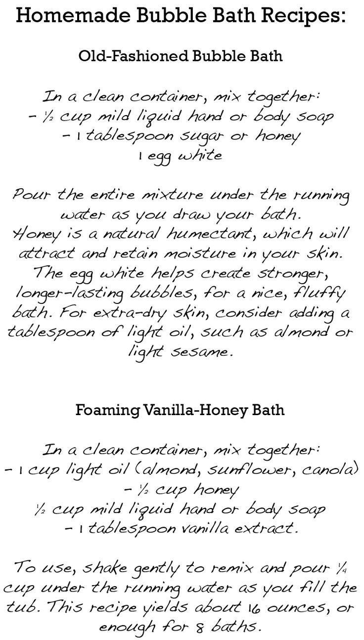 how to make homemade bubble bath recipe