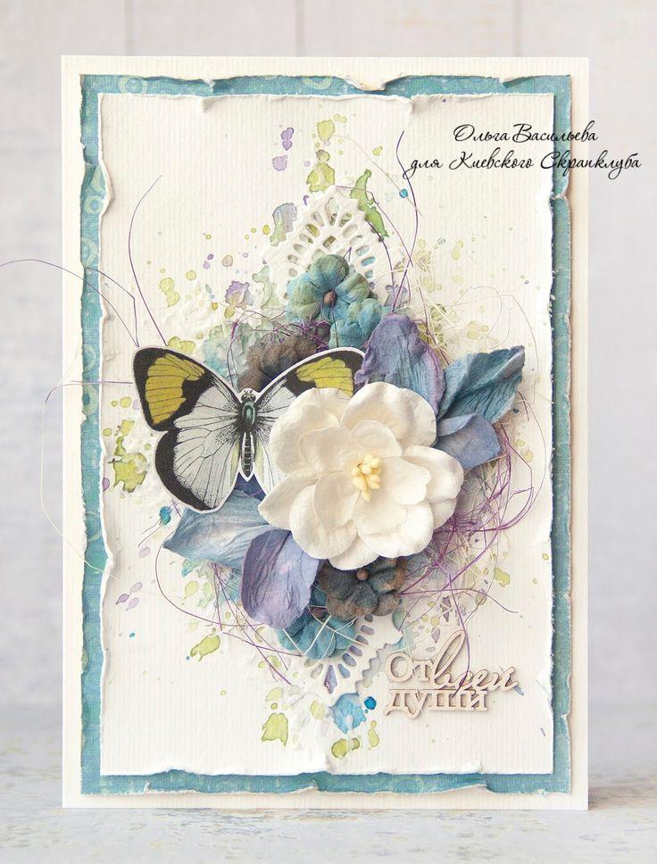 Скрапбукинг цветочная открытка 74
