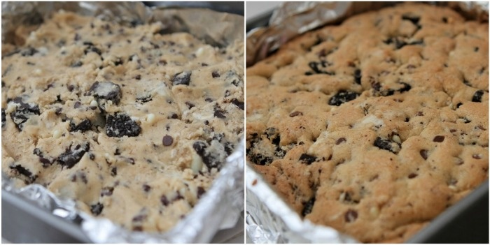 Double Cookies And Cream Kiss Cookie Bars Recipe — Dishmaps