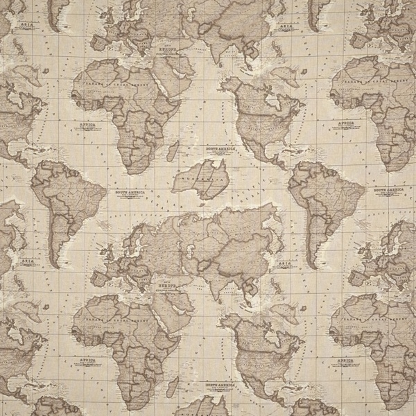 World Map Fabric Mocha