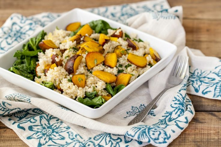 Ella | Roasted Golden Beet and Millet Spinach Salad with Herb Dressing ...