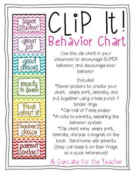 Printable Freebie: clip it! behavior chart Not using a conduct chart this year but just in case I change my mind.