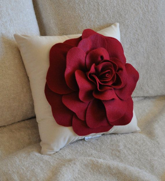 DIY Large Felt Rose with BONUS Pillow PDF Pattern Tutorial Flower Pil?