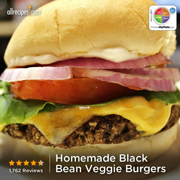 Homemade Black Bean Veggie Burgers from Allrecipes.com #myplate # ...