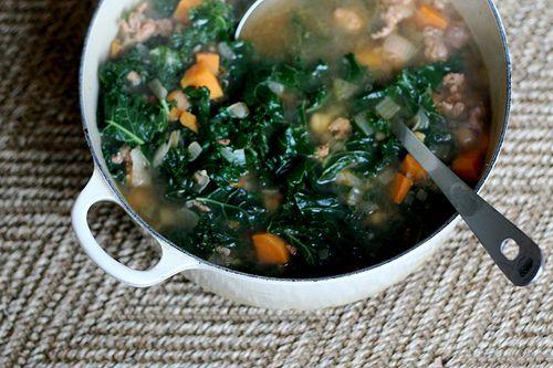 Sweet potato, sausage and kale soup | Soup, stew and chili | Pinterest