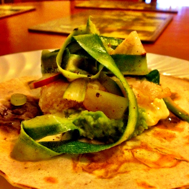 Grouper wrap with asparagus, avocado and radish