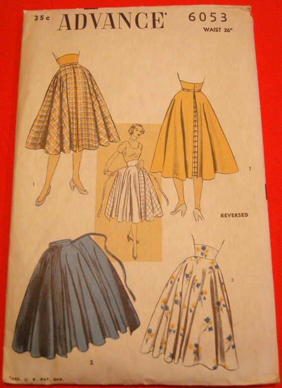 1950s Skirt & Overskirt Sewing Pattern Advance by VivianVanOwen