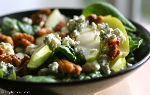 ... want salad, this is what I want. Pear and Bleu Cheese Spinach Salad