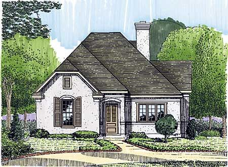 Intimate study for French cottage floor plans