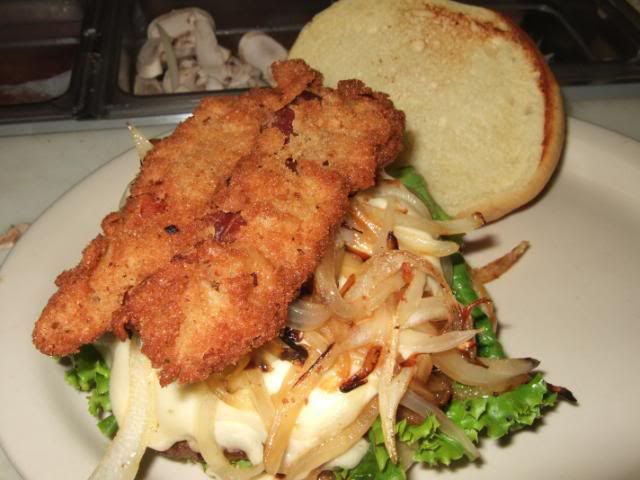 Swiss& grilled onion burger with chicken fried bacon