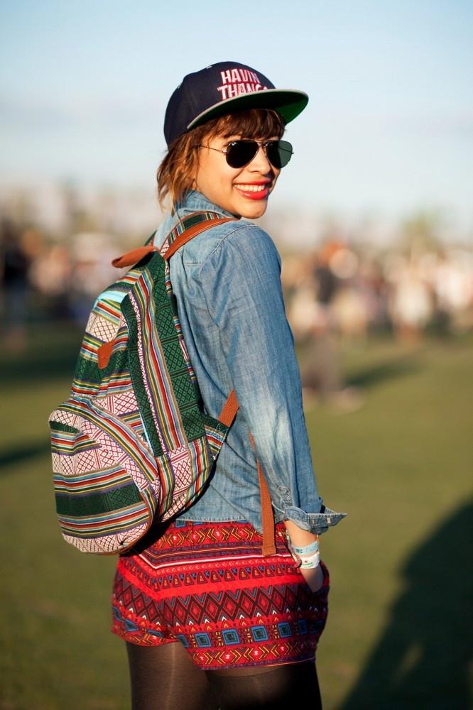 Eclectic mix of tribal prints & tomboy pieces at Coachella
