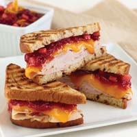Swirl Bread Panini with Smoked Turkey, Cheddar and Cranberry Chutney