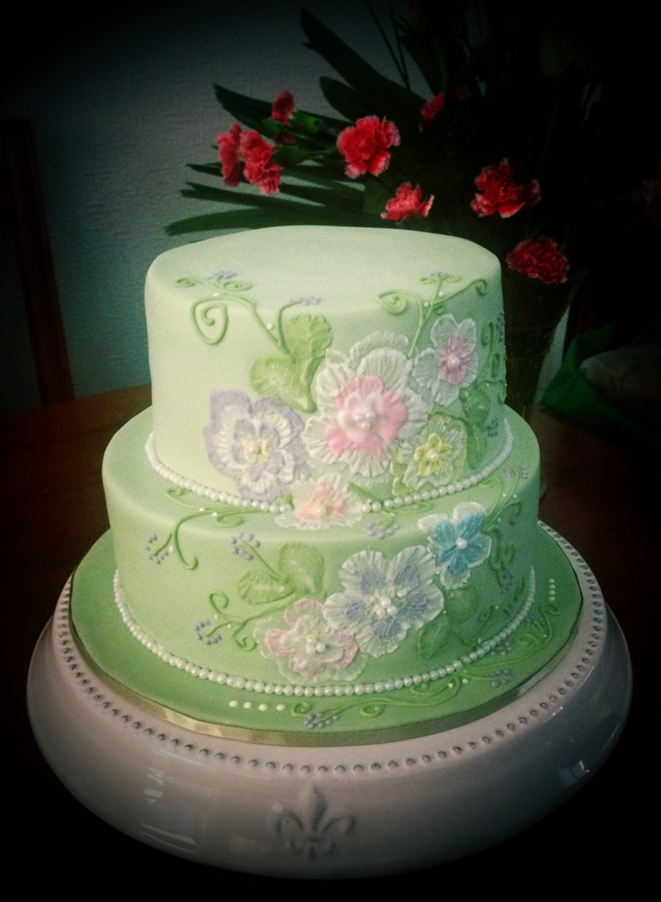 My First Brush Embroidery Cake  Cake Inspiration  Pinterest