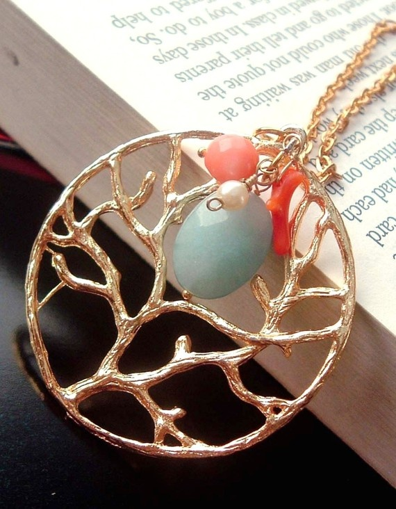 The Coral Reef - Blue Aquamarine, Pink Red Coral and Freshwater Pearl Gold Necklace