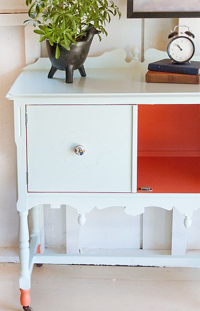 No. 41 {freshy fresh} orange, pale mint jade sideboard entry table