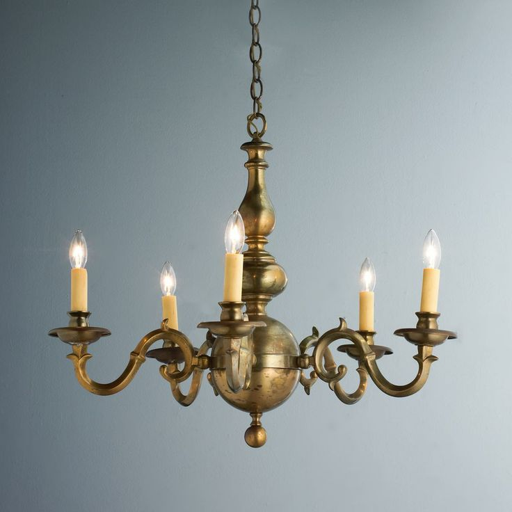 Georgian Chandelier: Antique Aged Brass Georgian Chandelier